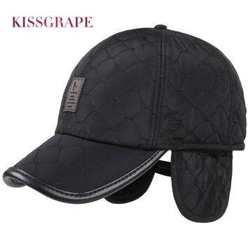 Trendy Winter Jacket New Winter Warm Baseball Caps for Men Thicken Fleece Cap Baseball Hats with Ear Flaps Male Bone Snapback Outdoor Cap for Father AT_92_12