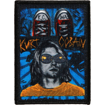 Nirvana Men's Kurt Cobain K.C.W.A. Embroidered Patch Black