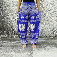 Elephants Trousers Yoga Pants Hippies Baggy Boho Hobo Bohemian Fashion Styles Clothing Rayon Gypsy Tribal Comfy Clothes For Beach Women Blue