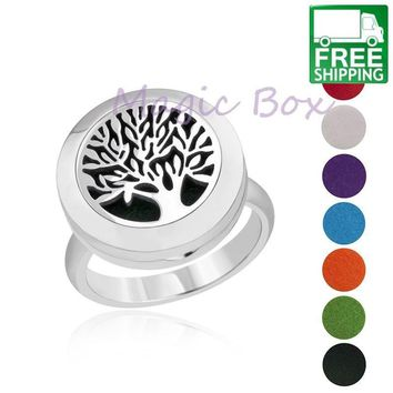 Tree of Life Aromatherapy Locket Ring with 8 Color Pads