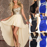 Women Sexy lady Xmas Party Dress Sequin Evening Cocktail Ball Dance Wear Costume