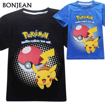 2017 Pokemon Go T Shirt Children Cartoon Pikachu Funny t shirt boys clothing kids T-shirt for boys Cotton Tops Clothes 3-10Y