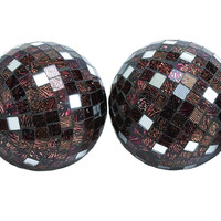 Attractive Copper Mirror Mosaic Ball Set Of Four