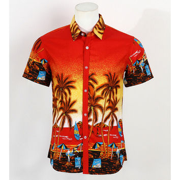 Hot Men Aloha Shirt Hawaiian Cruise Tropical Luau Beach Hawaiian Party Palm Flame red L normal version