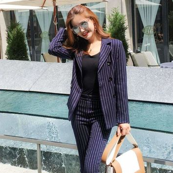 Women's Business Set British Retro Casual Striped Ladies Suit Ladies Professional Two-Piece Suit