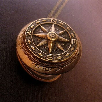 Compass Locket Necklace - Steampunk Necklace - True North Locket - Photo Locket - Antiqued Brass - Keepsake