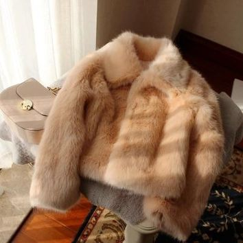 New Style High-end Fashion Women Faux Fur Coat S58