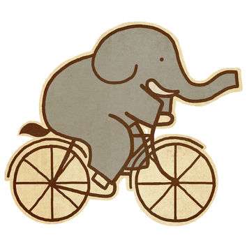Terry Fan Elephant Cycle wall decal