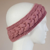 Womens Ear Warmers - Headband - Hand Knitted Earwarmer - Gift for Her - Womens Gift - Hair Accessories - Hand Knit - Pink Knitted Headband