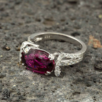 Rubellite and Diamond Engagement Ring, Engagement Ring, Rubellite Ring, Rubellite Engagement Ring | LDR02174