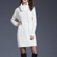 Cowl Neck Knit Sexy Sweater Dresses for Fall Weather