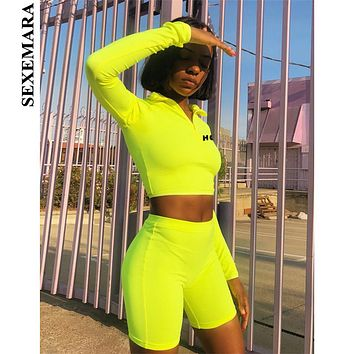 e72148bd876 SEXEMARA Fluorescent Sexy 2 Piece Set Women Tracksuit Long Sleeve Crop Top  and Biker Shorts Matching