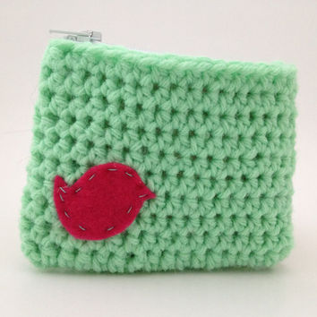 Coin Purse  Green Crochet Bird Pouch Clutch Sea foam by Parachet