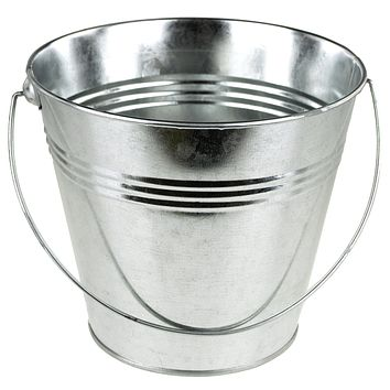Metal Pail Bucket Party Favor, 7-Inch, Silver
