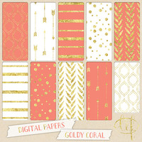 Coral and Gold Digital paper pack including white gold glitter / foil with arrows stripes, dots, confetti, geometric patterns printable cmyk