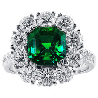2.16 Carat Colombian Emerald and Diamond Cluster Ring
