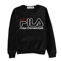 FILA Lady Men Round Collar With A Loose Long Sleeve Sweater Top