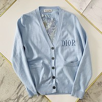 DIOR New Fashion Women's Rose Jacquard Knit Cardigan High quality