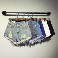 Denim Holes Womens Shorts