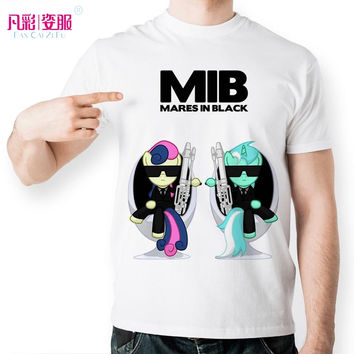 New Creative Men In Black T Shirt Classical Anime My Little Pony T-shirt Cartoon Twilight Sparkle Printed Tshirt Unisex