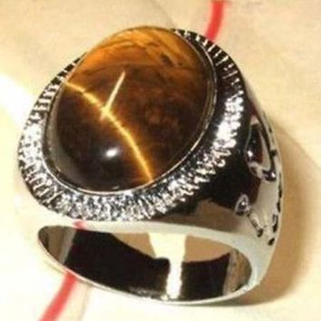 Rare real Natural Tiger eye Jewelry Silver Brown stone men's ring Size 7/8/9/10# wedding jewelry ring