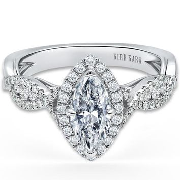 "Kirk Kara ""Pirouetta"" Split Shank Twist Marquise Halo Diamond Engagement Ring"