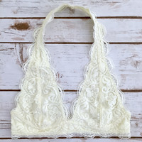 Lace Halter Bralette in Ivory