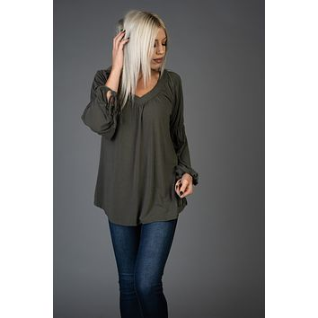 Olive Top with  Tie Sleeves
