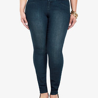 High-Waisted Button-Tab Front Skinny Jeans | Torrid