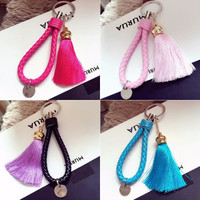 Handmade with Love -  Leather and Tassel Knitted Bag Charm - Key Ring