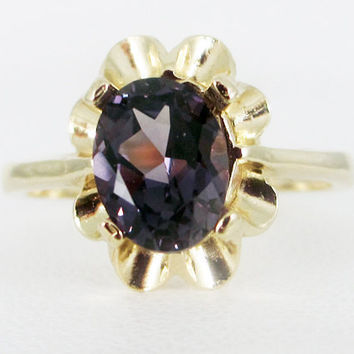 Alexandrite 14k Yellow Gold Oval Crown Ring