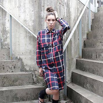 Plaid shirt, red plaid shirt, long shirt, long sleeve shirt,  cotton shirt, women shirt dress (ESR159)