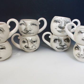 Small White Moon Cup, white porcelain cup, hand drawn faces on white porcelain cup