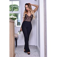 Black Dressy Work Office Stretchy Slim high waisted flared pants