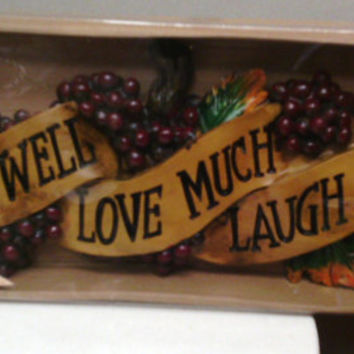 "Tuscan GRAPE Live Well Love Much , Laugh Often 17"" by 6.4"" Wall decor ceramic/ ceramic plaque/ fruit wall hanging/home interior gift for her"