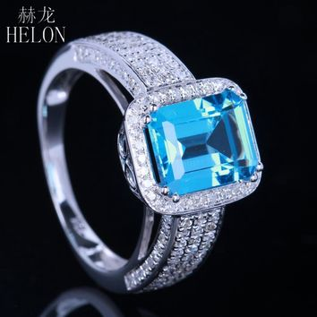 HELON 10K White Gold Women's Emerald & Blue Topaz & Diamond Engagement Ring