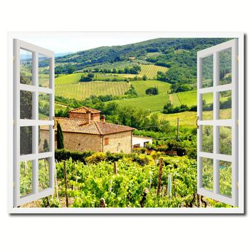Wine Vineyards Tuscany Italy Picture French Window Framed Canvas Print Home Decor Wall Art Collection