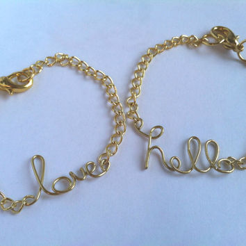 Wire Name Bracelet / Gold Plated / Personalized Name Bracelet / Gold Wire