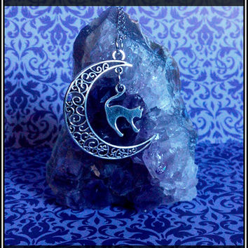 Cat Moon Necklace Sterling Silver Plated Witch Goth Pagan Wicca Kitty