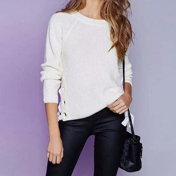 Tie up knitted sweater slim jumper