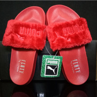 """PUMA"" Rihanna Fenty Leadcat Fur Slipper Shoes Red"