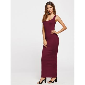 Burgundy Scoop Neck Sheath Tank Dress