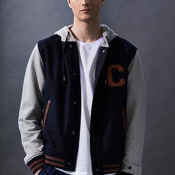 Champion X UO Hooded Varsity Jacket- Navy