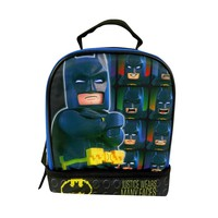 """Lego Batman 9.5"""" Dual Compartment Lunch Bag with Cape"""