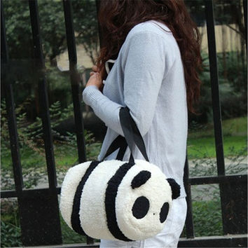 Large Cartoons Soft Plush Panda Cylindrical Handbags Travel Cosmetic Storage Cylinder Shoulder Baby Bag Backpack Students Schoolbag (Size: 7.87inch x 5.91inch x 11.81inch) [8081692487]