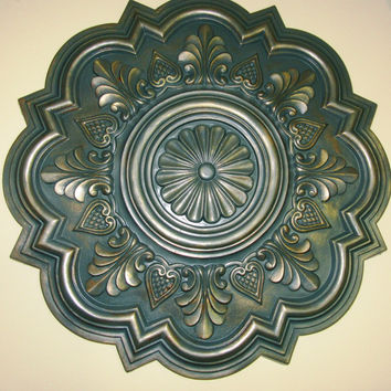 "Antiqued Ceiling or Wall Medallion, 20"" Ceiling Medallion, Ornate Medallion, ceiling medallion"