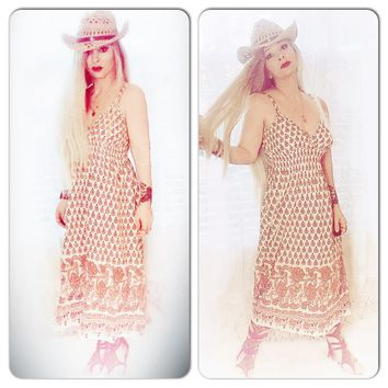 Hippie chic sundress, Woodstock retro 70s, True rebel clothing