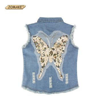 Trendy Sequin Butterfly Girls Denim Vest Spring 2018 Fashion Brand Clothing Children Outerwear & Coats Baby Girl Waistcoat Kids Jackets AT_94_13