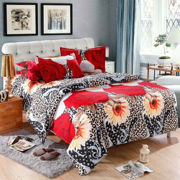 Leopard Flower Pattern 4 Piece 3D Printed Duvet Bedding Set Queen