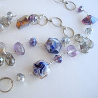 Elegant Art Glass Necklace Rings AB Beads Blue White Sparkling Jewelry